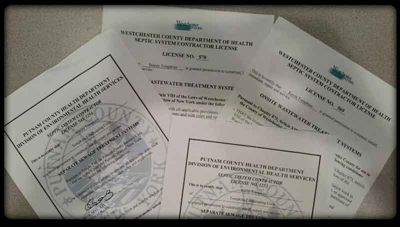 Westchester and Putnam Septic Contractor Licenses