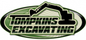 Tompkins Excavating logo that has a backhoe.