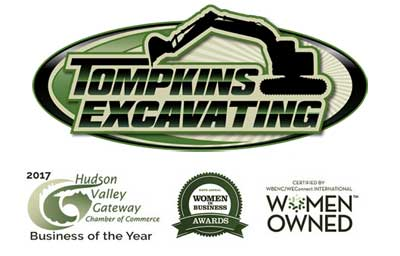 Tompkins Excavating Logo with awards.
