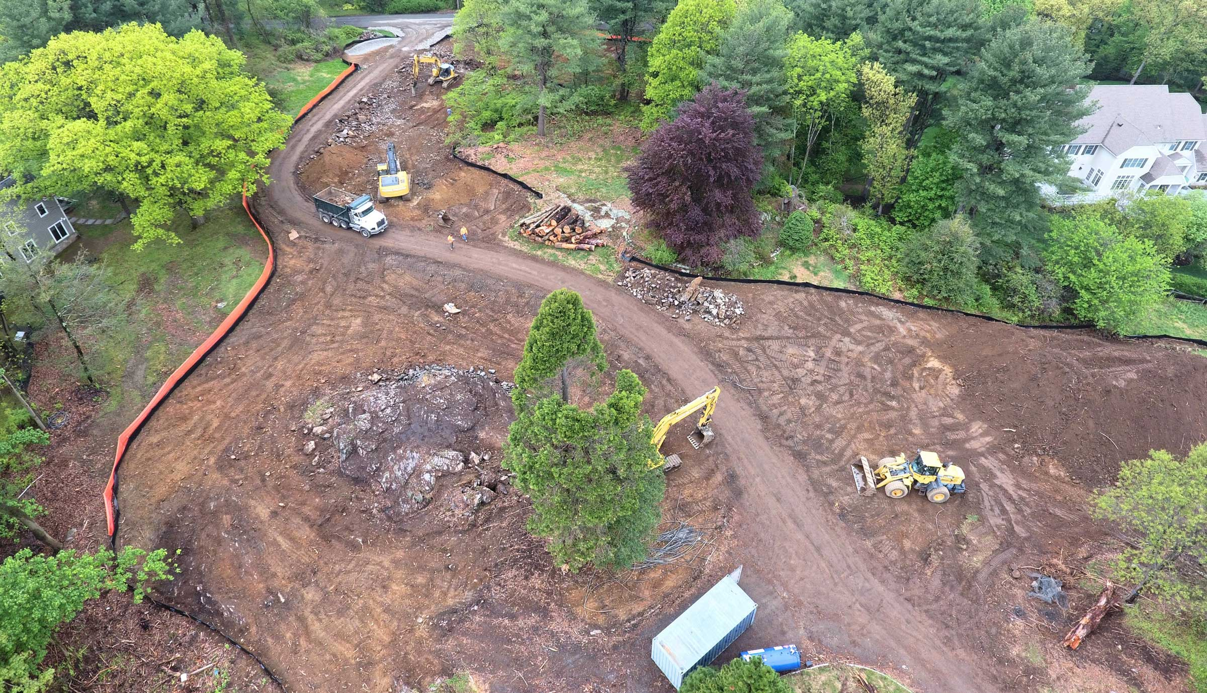 Drone shot of site development.